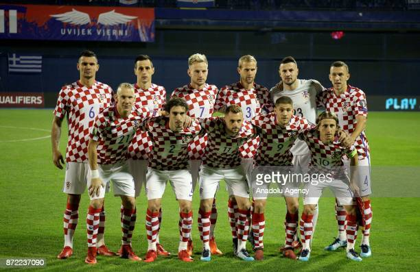 Players of Croatia pose for a team photo ahead of the 2018 FIFA World Cup playoff qualification football match between Croatia and Greece at the...
