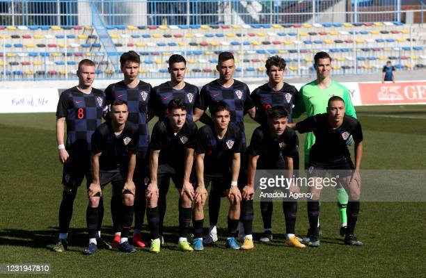 Players of Croatia pose for a team photo ahead of the friendly match between Croatia and Turkey within preparations for the 2023 UEFA Under-21...