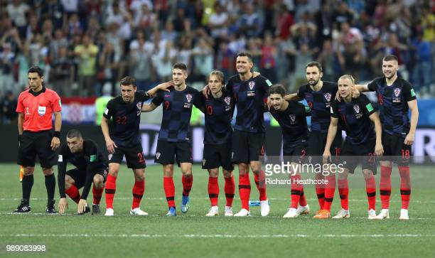 Players of Croatia watch the peanlty shoot out during the 2018 FIFA World Cup Russia Round of 16 match between Croatia and Denmark at Nizhny Novgorod...