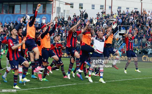 Players of Crotone celebrate after the Serie A match between FC Crotone and FC Internazionale at Stadio Comunale Ezio Scida on April 9 2017 in...