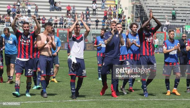 Players of Crotone celebrate after the serie A match between FC Crotone and US Sassuolo at Stadio Comunale Ezio Scida on April 29, 2018 in Crotone,...