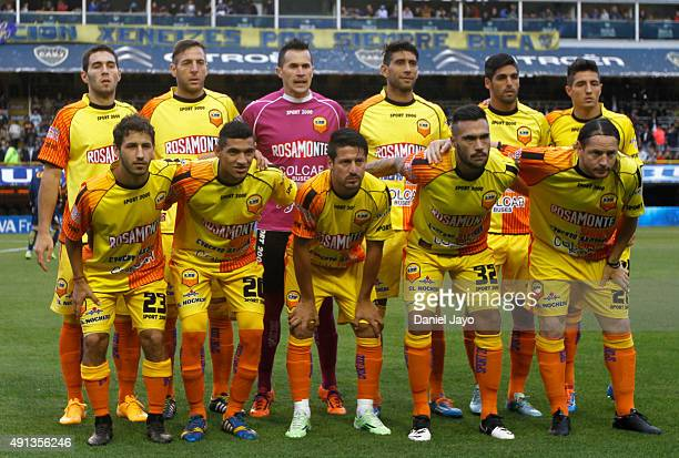 Players of Crucero del Norte pose before a match between Boca Juniors and Crucero del Norte as part of 27th round of Torneo Primera Division 2015 at...