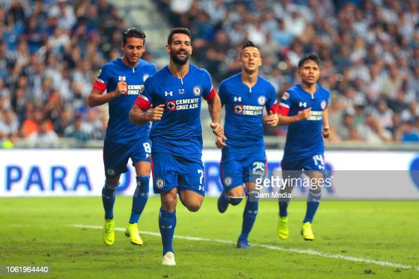 Players of Cruz Azul celebrate after the second goal of their team during the Final match between Monterrey and Cruz Azul as part of the Copa MX...