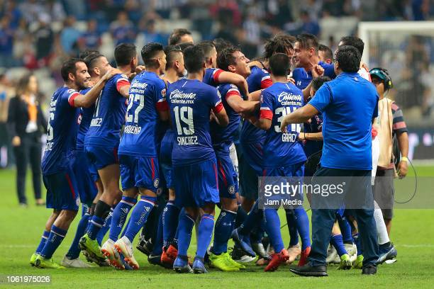 Players of Cruz Azul celebrate after winning the Final match between Monterrey and Cruz Azul as part of the Copa MX Apertura 2018 on October 31 2018...