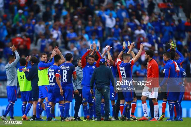 Players of Cruz Azul celebrate after winning the game during the 6th round match between Cruz Azul and Toluca as part of the Torneo Apertura 2018...