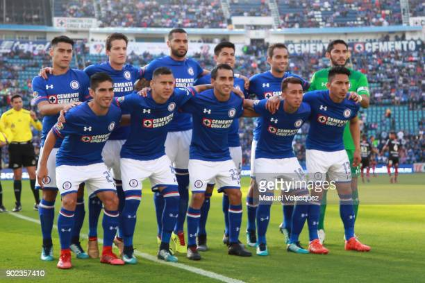 Players of Cruz Azul pose prior the first round match between Cruz Azul and Tijuana as part of the Torneo Clausura 2018 Liga MX at Azul Stadium on...