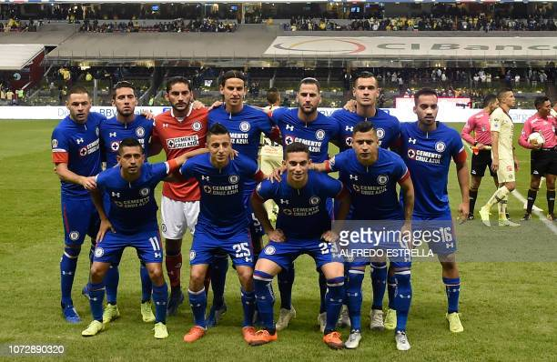 Players of Cruz Azul poses for photographers during the first round of final of the Mexican Apertura tournament football match at the Azteca stadium...