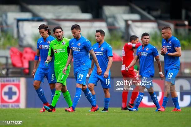 Players of Cruz Azul react during the 9th round match between Cruz Azul and Necaxa as part of the Torneo Clausura 2019 Liga MX at Azteca Stadium on...