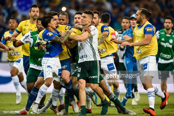 Players of Cruzeiro and Palmerias fight after the game between Cruzeiro and Palmeiras as part of Copa do Brasil 2018 at Mineirao stadium on September...