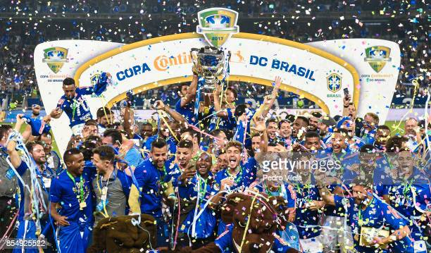 Players of Cruzeiro celebrate the title with the trophy after a match between Cruzeiro and Flamengo as part of Copa do Brasil Final 2017 at Mineirao...