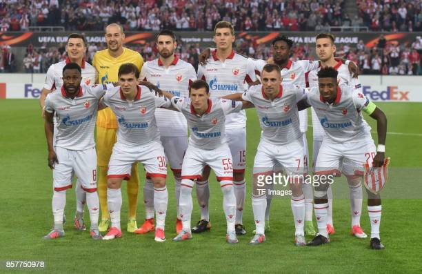 Players of Crvena Zvezda are seen during the UEFA Europa League group H match between 1 FC Koeln and Crvena Zvezda at RheinEnergieStadion on...
