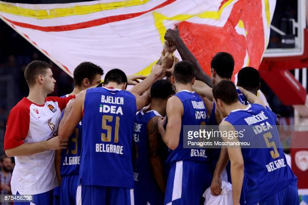 Players of Crvena Zvezda react after the final whistle during the 2017/2018 Turkish Airlines EuroLeague Regular Season Round 8 game between...