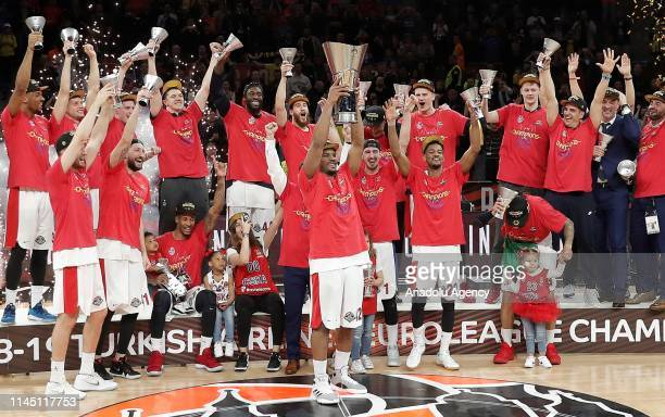 Players of CSKA Moscow lift the trophy after winning the final match against Anadolu Efes within 2019 Turkish Airlines Euroleague Final Four at...