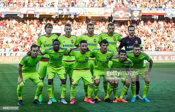 Players of CSKA Moscow pose before the UEFA Champions League Third Qualifying Round 2nd Leg match between Sparta Prague and CSKA Moscow August 5 2015...