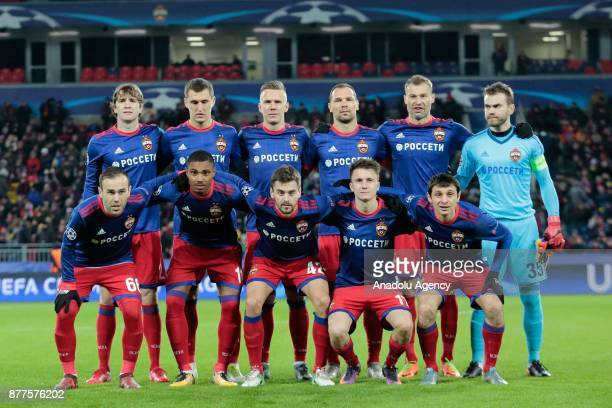Players of CSKA Moscow pose for a photo ahead of the UEFA Champions League Group A soccer match between CSKA Moscow and Benfica at VEB Arena in...