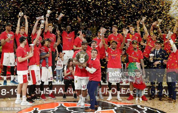 Players of CSKA Moscow receive the trophy after winning the final match against Anadolu Efes within 2019 Turkish Airlines Euroleague Final Four at...