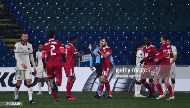 Players of CSKA Sofia celebrate after scoring a goal during the UEFA Europa League Group A football match between CSKA Sofia and AS Roma at Vasil...