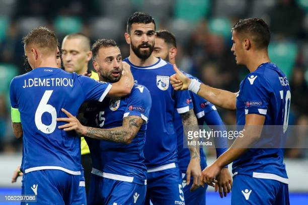 Players of Cyprus celebrate after scoring first goal during the UEFA Nations League C group three match between Slovenia and Cyprus at SRC Stozice on...