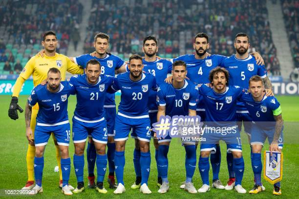 Players of Cyprus during the UEFA Nations League C group three match between Slovenia and Cyprus at SRC Stozice on October 16 2018 in Ljubljana...