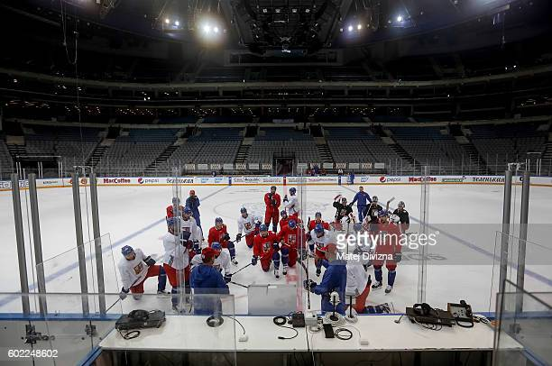 Players of Czech Republic attend a practice for the 2016 World Cup Of Hockey preparation match between Czech Republic and Russia at O2 Arena on...