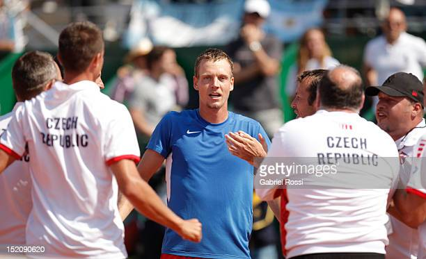 Players of Czech Republic celebrate after the match between Argentina and Czech Republic as part of the third day of the Davis Cup Semi-final at Mary...