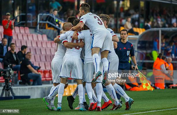 Players of Czech Republic celebrate their first goal during UEFA U21 European Championship Group A match between Serbia and Czech Republic at Letna...