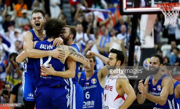 Players of Czech Republic celebrate victory after FIBA World Cup 2019 Group E match between Turkey and Czech Republic at the Oriental Sports Center...