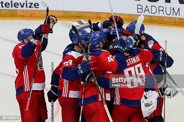 Players of Czech Republic celebrate winning after penalties in the 2016 World Cup of Hockey preparation match between Czech Republic and Russia at O2...