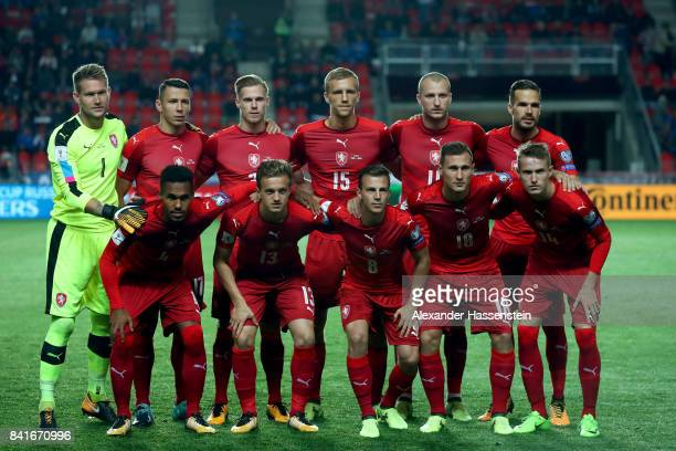 Players of Czech Republic lines up for the FIFA World Cup Russia 2018 Group C Qualifier between Czech Republic and Germany at Eden Arena on September...