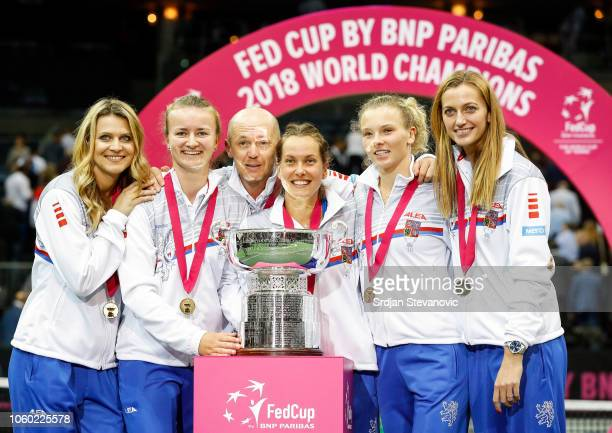 Players of Czech Republic team Lucie Safarova Barbora Krejcikova team captain Petr Pala Barbora Strycova Katerina Siniakova and Petra Kvitova...