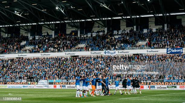 Players of Darmstadt celebrate the victory during the Second Bundesliga match between SV Darmstadt 98 and SV Werder Bremen at Merck-Stadion am...