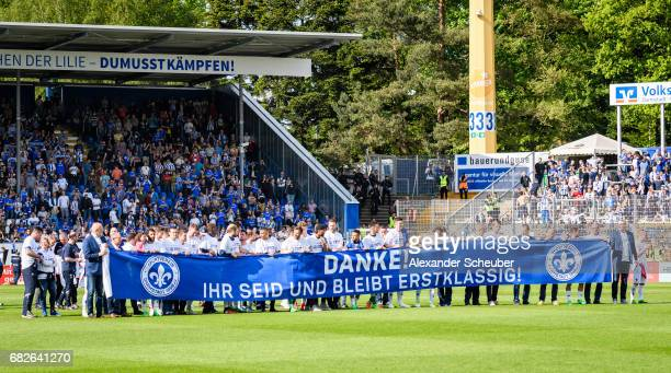 Players of Darmstadt thank the fans for the season during the Bundesliga match between SV Darmstadt 98 and Hertha BSC at Stadion am Boellenfalltor on...
