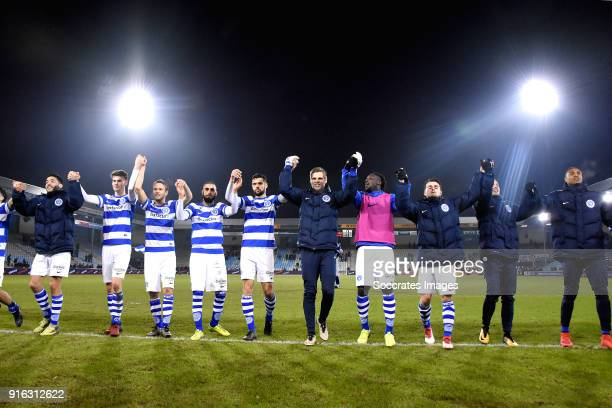 players of De Graafschap celebrates the victory during the Dutch Jupiler League match between De Graafschap v FC Volendam at the De Vijverberg on...