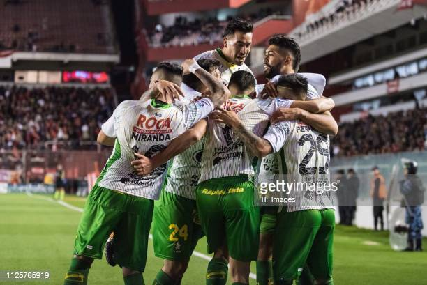 Players of Defensa y Justicia celebrate after scoring their team's first goal during the Superliga match between Independiente and Defensa y Justicia...