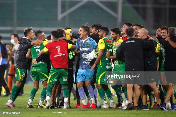 Players of Defensa y Justicia celebrate the victory after a semifinal second leg match between Defensa y Justicia and Coquimbo Unido as part of Copa...