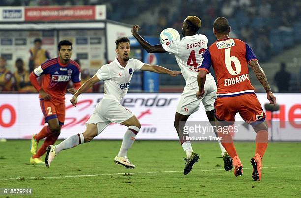 Players of Delhi Dynamos FC and FC Pune City during the India Super League football match on October 27 2016 in New Delhi India