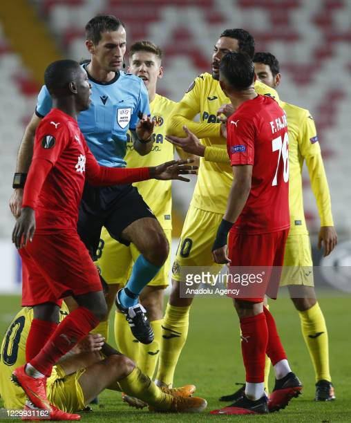 Players of Demir Grup Sivasspor and Villarreal argue with each other during UEFA Europa League Group I match between Demir Grup Sivasspor and...