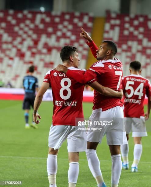 Players of Demir Grup Sivasspor celebrate after a goal during a Turkish Super Lig week 5 football match between Demir Grup Sivasspor and Trabzonspor...