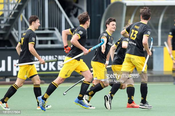 Players of Den Bosch are celebrating the goal, Tijmen Reijenga of Den Bosch during the Hoofdklasse match between Den Bosch H1 and Almere H1 at Hockey...
