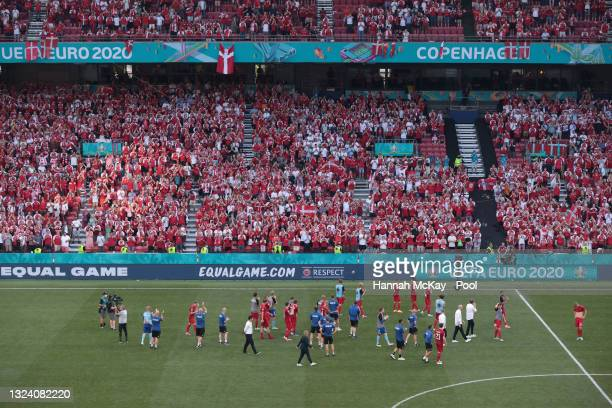 Players of Denmark applaud the fans following defeat in the UEFA Euro 2020 Championship Group B match between Denmark and Belgium at Parken Stadium...
