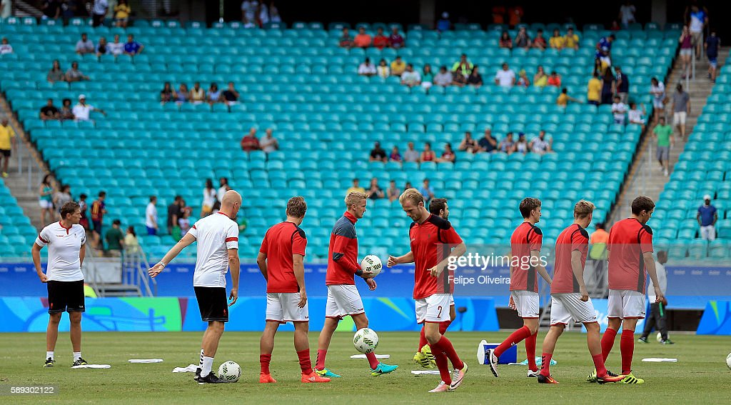 Players of Denmark before the Men's Football Quarterfinal match at Arena Fonte Nova Stadium on Day 8 of the Rio 2016 Olympic Games on August 13, 2016 in Salvador, Brazil.