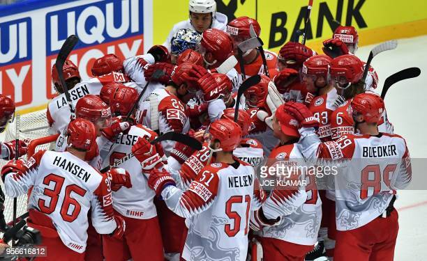 2 win during the group B match Finland vs Denmark of the 2018 IIHF Ice Hockey World Championship at the Jyske Bank Boxen in Herning Denmark on May 9...