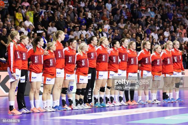 Players of Denmark during the anthems during the Golden League match between France and Denmark on March 16 2017 in Le Mans France