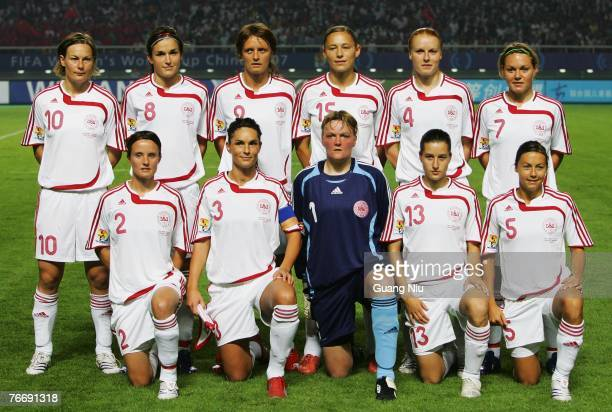 Players of Denmark pose for a group photo before a match against China in the FIFA Women's World Cup 2007 Group D match at Wuhan Sports Center...