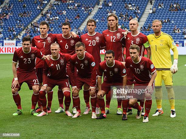 Players of Denmark pose for photograph prior to the international friendly match between Denmark and Bulgaria at the Suita City Football Stadium on...