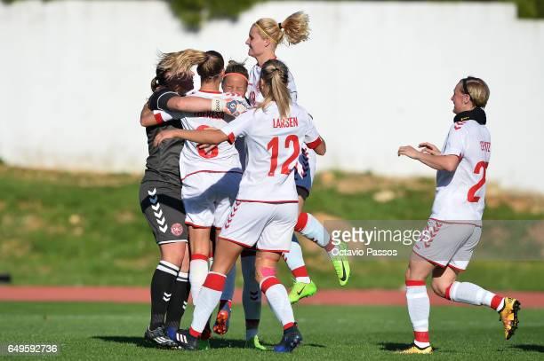 Players of Denmark react after winning the match during the Women's Algarve Cup Tournament match between Australia and Denmark at Municipal de...