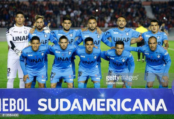Players of Deportes Iquique pose for a photo prior to the first leg match between Independiente and Deportes Iquique as part of second round of Copa...