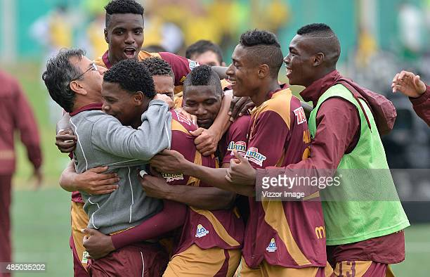 Players of Deportes Tolima celebrate a goal scored to Patriotas FC during a match between Deportes Tolima and Patriotas FC as part of 8th round of...