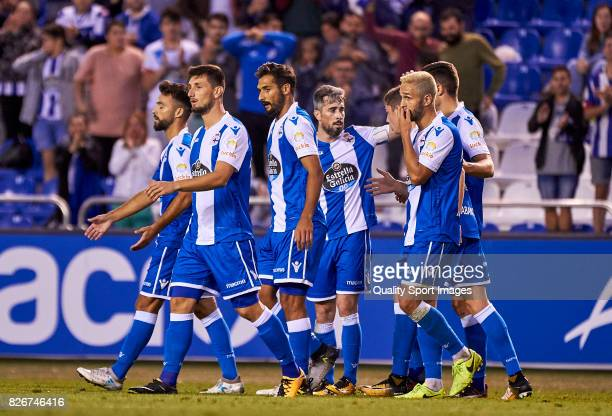 Players of Deportivo de La Coruna celebrate the opening goal during the Pre Season Friendly match between Deportivo de La Corua and West Bromwich...