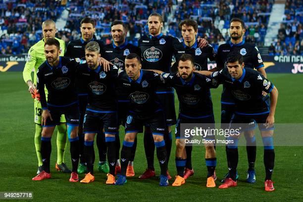 Players of Deportivo La Coruna line up for a team photo prior to the La Liga match between Leganes and Deportivo La Coruna at Estadio Municipal de...